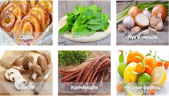 Указанные на картинке продукты запрещены. Если вы любите продукты с высоким содержанием жира, сократите их порцию вполовину. Зелень пряных овощей вреда не причиняет.